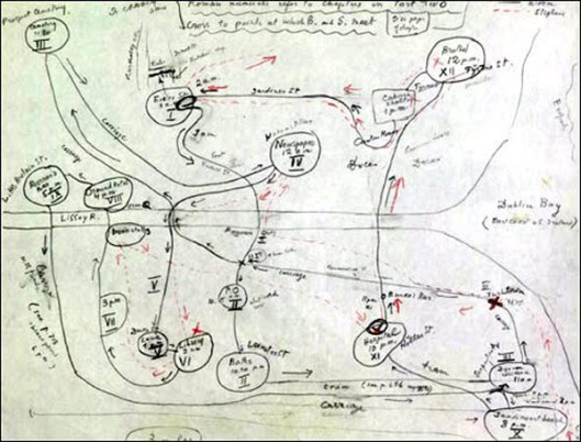 Fact. When Joyce first published Ulysses, nobody could understand it. He had to send out a cheat sheet listing the various clues connecting the wanderings of his hero Leopold Bloom with those of the classical Ulysses. Many ended up doing what Vladimir Nabokov did to keep track, and creating his own map of Bloom's route. [Image Credit: OpenCulture.com] http://www.openculture.com/2013/08/vladimir-nabokov-creates-a-hand-drawn-map-of-james-joyces-ulysses.html