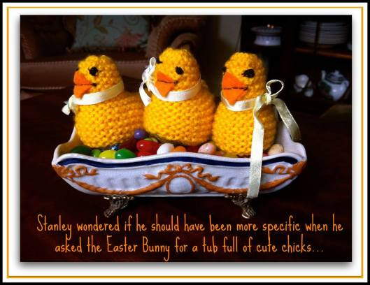 "England is amazing. I bought these little handmade chicks at a Village Coffee fundraiser. The lady who knitted them apologized for raising the cost to £1.20 each because she had filled them with the ""good"" chocolate eggs... I can't bring myself to call you my ""peeps"" [shudders] so I'll just wish all a happy spring!"