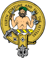 """What do you suppose he has on under his... um.... (Cap badge of the Atholl Highlanders)"
