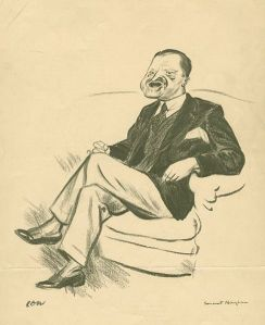 """There are three rules for writing a novel. Unfortunately, no one knows what they are."" --W. Somerset Maugham  [picture credit: caricature by David Low, in New York Public Library Archives]"