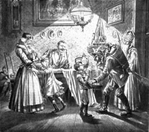 English: Nikolaus and Krampus in Austria. Newspaper-illustration from 1896 Deutsch: Besuch von Nikolaus und Krampus in der Stube, Zeitungsillustration aus dem Jahr 1896 (Photo credit: Wikipedia)