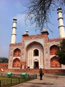 This is one of four identical gateways to the tomb of Akbar the Great. (No, it's not your eyes--the towers really lean so that if they were to fall they wouldn't crush the building...)