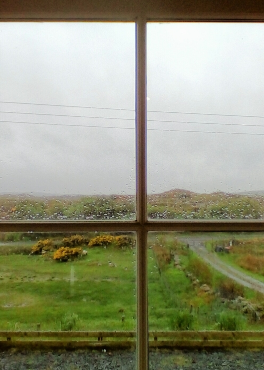 Even in a downpour, it's easy to be philosophical from inside a beautiful hillside cottage filled with warmth, every possible convenience, coffee, AND wifi. And if your window looks out on sheep grazing by blooming gorse...well, you're in heaven or Scotland.