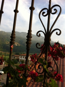Lovely hostal with misty mountain views and geraniums on the balcony