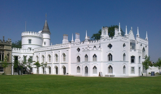 Horace Walpole's Twickenham house, Strawberry Hill, gleaming white in spring sunshine, soon after restoration. [photo credit: Chiswick Chap via Creative Commons license]