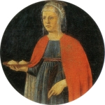 Saint Agatha bearing her severed breasts on a platter, by Piero della Francesca (ca. 1460–70)