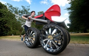The Ultimate Baby Stroller for Men: ŠKODA, the car manufacturer, knew that men want tough performance cars and even tougher baby carriages. They got busy and interviewed British men about what they wanted and then turned their engineers loose to create it. They created the ultimate baby stroller for men. [photo credit: http://materialicious.com/2013/07/the-ultimate-baby-stroller-for-men.html]