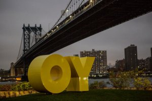 "Brooklyn to NY: OY! -""OY/YO"" sculpture by Deborah Kass [Image credit: NY Times] http://www.nytimes.com/2015/11/11/nyregion/a-sculpture-with-something-to-say-lands-in-brooklyn-bridge-park.html?_r=0"