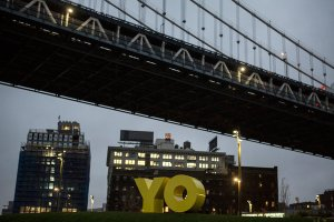 "New York to Brooklyn: YO -""OY/YO"" sculpture by Deborah Kass [Image credit: NY Times] http://www.nytimes.com/2015/11/11/nyregion/a-sculpture-with-something-to-say-lands-in-brooklyn-bridge-park.html?_r=0"