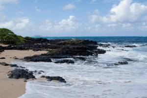 Lava reefs on beach on Oahu