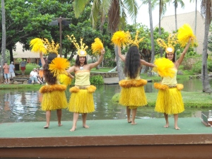 Tahitian dancers--Wonder what would happen if I wore an outfit like this to my next writers' conference (Polynesian Cultural Center on Oahu)