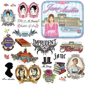 Jane Austen temporary tattoos. Hell, yeah. (£7.50 from The Literary Gift Company) http://www.theliterarygiftcompany.com/jane-austen-temporary-tattoos-51034-p.asp