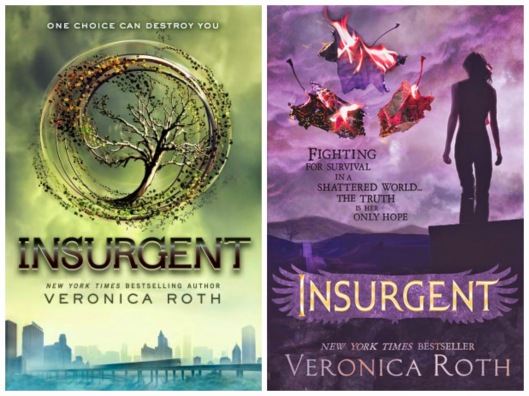 Insurgent: left US cover, right UK cover [Image Credit: A Life Bound by Books]http://alifeboundbybooks.blogspot.co.uk/2014/07/book-wars-insurgent-divergent-2-by.html