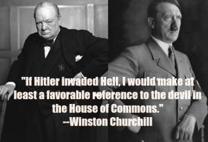 Winston Churchill the devil and Hitler