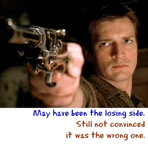 Firefly (Nathan Fillion as Captain Mal Reynolds [Image Credit: EW Community] https://ewvox.files.wordpress.com/2014/04/firefly-nathan-fillion.jpg