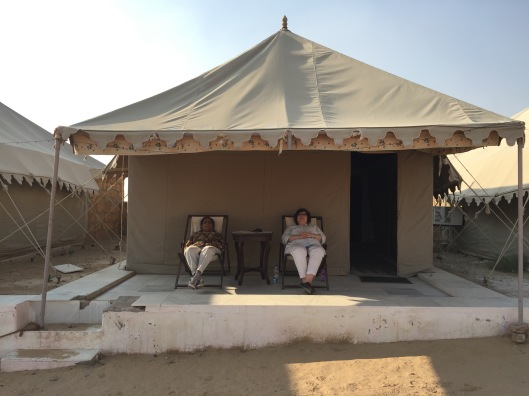 'Traditional' Mewar maharajah-style desert tents. Our bare bones tents might lack a maharaja's embroidered hangings and luxurious carpets but I'm pretty sure no maharajah's tent had an air-conditioner or huge en suite with shower.