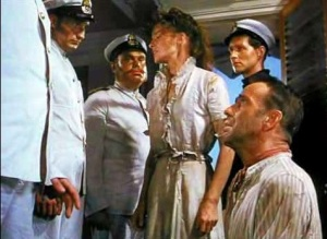 "Captain: ""Who are you?"" Rosie: ""Miss Rose Sayre."" Captain: ""English?"" Rosie: ""Of course."" [Image Credit: The African Queen, John Huston's 1951 film starring Hepburn and Bogart] https://youtu.be/gc9QYyzw9VA?t=1h38m14s"