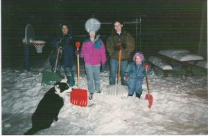 Snow with kids and dog
