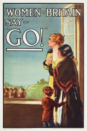 Women of Britain say GO [image credit: E J Kealey (artist) Parliamentary Recruiting Committee (copyright owner/commissioner) Hill, Siffken & Co. (L.P.A. Ltd.) (Publisher) Adam Cuerden (Restoration) - Te Papa Tongarewa (The Museum of New Zealand)] https://en.wikipedia.org/wiki/Music_hall#/media/File:Women_of_Britain_Say_-_%22Go%22_-_World_War_I_British_poster_by_the_Parliamentary_Recruiting_Committee,_art_by_E_J_Kealey_(Restoration).jpg
