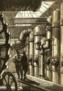 Original illustration of Jules Verne's Nautilus engine room [Image credit: Alphonse-Marie-Adolphe de Neuville - scan from Hetzel edition of 20000 Lieues Sous les Mers] https://en.wikipedia.org/wiki/Steampunk#/media/File:20000_Nautilus_engines.jpg