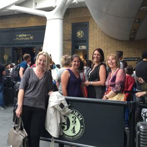 How do you get to BloggerBash? Why, you meet at Platform 9 3/4 at Kings Cross Station with super bloggers Alison Williams, Chris Philippou, Shelley Wilson, and Rosie Amber. Wingardium Leviosa!
