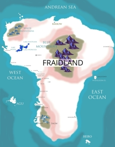 Map of Fraidland. [image credit: Gabrielle de la Fair for Evelyn Dear Fender]