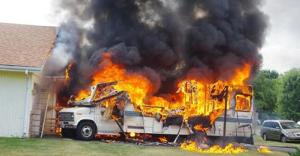 How the kids pray the family trip will be (hopefully before leaving their driveway) [Image credit: Statter911.com] http://www.statter911.com/2014/07/28/early-video-rv-suv-fire-threatening-roscoe-il-home/