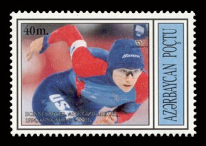 Azerbaijan postage stamp featuring US speedskater Bonnie Blair