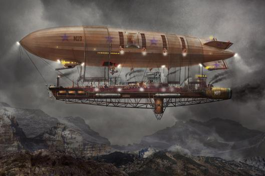 """That willing suspension of disbelief for the moment, which constitutes poetic faith."" —Samuel Taylor Coleridge [image credit: Steampunk by Mike Savad] http://fineartamerica.com/featured/steampunk-blimp-airship-maximus-mike-savad.html"