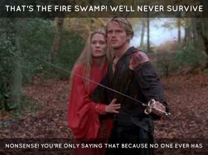 What's a fantasy without a doomed quest? [image credit: The Princess Bride, directed by Rob Reiner, 1999, 20th Century Fox]