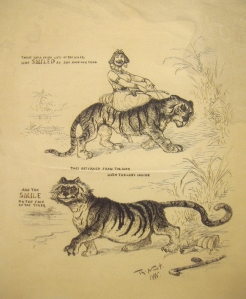 "Title: There Was a Young Lady of the NigerÉ Text: ""There Was a Young Lady of the Niger, Who Smiled as She Rode on a Tiger, They Returned from the Ride with the Lady Inside, And the Smile on the Face of the Tiger.Ó Details: Signed and dated, ÒTh: Nast. 1888.Ó Artist: Thomas Nast Medium: Original drawing for ÒHarperÕs WeeklyÓ Image size: 10 x 8 1/4 inches Date: 1888 [image credit: The Phyllis Lucas Gallery] http://www.phyllislucasgallery.com/thwasyolaofn.html"