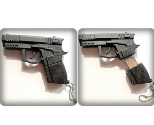 For your favorite thrillerwriter— Is that a gun in your USB or are you just happy to write it? [Image Credit: Amazon] https://www.amazon.com/Black-Shape-Flash-Drive-Memory/dp/B004SY0O8C