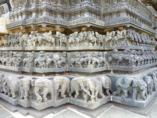 The exterior of the temple is covered by thousands of carved sculptures, including 644 elephants—each of them different.