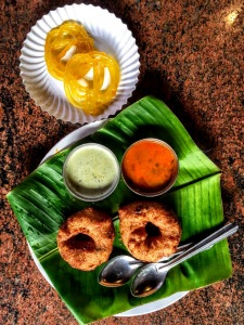 Most perfect breakfast ever at Kamat Restaurant on road from Bangalore to Mysore. [Image credit: this and all photos (c) Jayalakshmi Ayyer & Janine Smith, 2017. All rights reserved.]