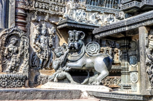 The Chennakeshava Temple, part of the original capital of the Hoysala kings, was commissioned in 1171 by the Hoysala King Vishnuvardhana. Repeated in several places was the tale of boy Prince Sala, who saved the city from a lion.
