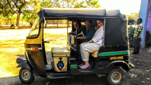 In direct defiance of the laws of physics, we fit three chubby tourists in an auto-rickshaw designed for two... [image credit: all images (c) Jayalakshmi Ayyer & Janine Smith 2017, all rights reserved]