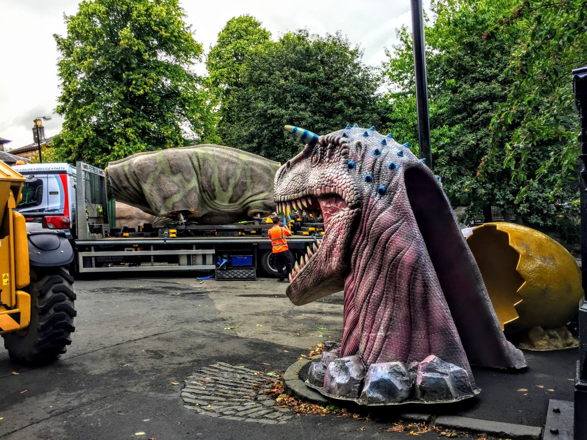 Jurassic Glasgow: please don't sit on my head #Glasgow #humor #dinosaur