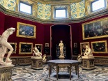 Tribuna of the Uffizi, the octagonal room at the heart of the Medici's incredible art collection. At center is the 1st century BCE Greek statue of Aphrodite (known as Venus de Medici).